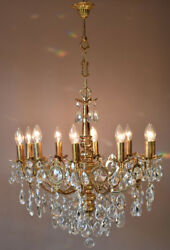 Brass Vintage Crystal Chandelier Antique Lighting Home Lights Lamp 10 arm French GBP 1790.00