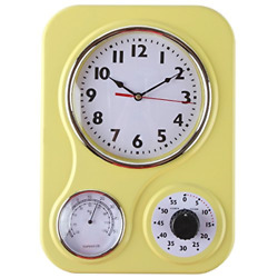 Lily#x27;s Home Retro Kitchen Wall Clock with a Thermometer and 60 Minute Timer in $21.99