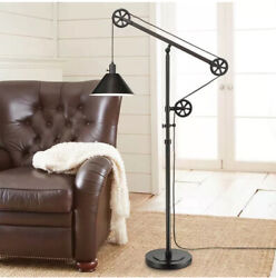 Industrial Pulley Floor Lamp By Bridgeport Designs Bronze Color Steel Shade $79.97