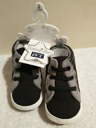 Rising Star Boys Sneakers Soft Sole Black amp; Gray Size 6 9M $10.95