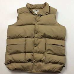 LL Bean Men's Brown Nylon Goose Down Filled Snap Front Vest Size L Made In USA $24.99