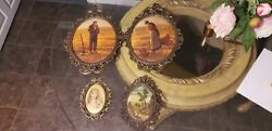Vintage Frames with Art Prints and Silk Fabric Portrait View. Lot of Four $50.00