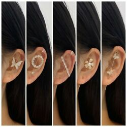 Boho Cubic Zirconia Earrings Ear Wrap Crawler Hook Women Wedding Jewelry Gifts $2.37