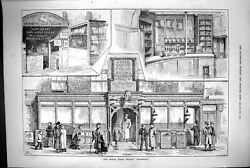 Antique Old Print 1883 Exterior Building White Horse Cellar Piccadilly London