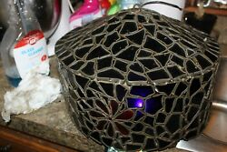 Vintage One Of A Kind Hand Made Stained Glass Floral Hanging Shade 8quot; x13quot; blue $49.99