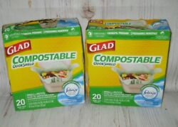 GLAD Compostable Odor Shield 2.6 Gallon Trash Bags 40 Bags 2 20 count boxes $18.98