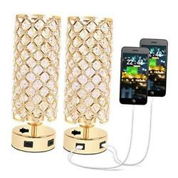 USB Crystal Table Lamp Gold Lamp Sets Desk Lamp Set of 2 with USB Charging $73.39