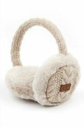 C.C. Beanie Cable Knit Faux Fur Earmuffs Warmers Variety $10.00