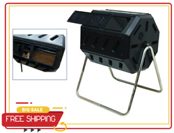 Composter Tumbler in Black with Two Chambers for Efficient Batch Composting $89.99