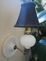 Vintage Hobnail White Milk Glass Wall mounted Lamp With Mini Black Lamp Shade $48.00