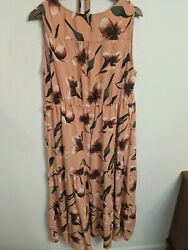 Ava amp; Viv Dusty Pink Floral Tiered Sundress Maxi Plus Size 1X $15.89