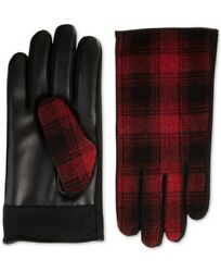 Isotoner Signature Mens Faux Leather Touchscreen Driving Gloves Red Plaid M $65 $7.68