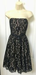 Robert Rodriguez Size 6 Black Lace Strapless Cocktail Party Formal Dress $19.95