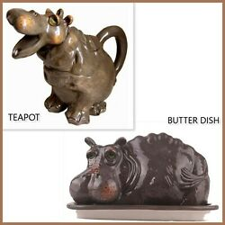 BLUE SKY Hand Painted HIPPO Ceramic Teapot and Butter Dish 🦛 $76.00