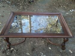 Coffee Table Glass Top Brown Used Living room Clean Glass $100.00