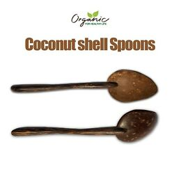 Coconut Shell Spoon Handmade Natural Kitchen Equipment Strong Free Shipping 2Pcs $6.99