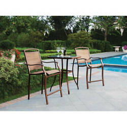 Mainstays Small Outdoor Bistro Set High Top Table Chairs Cushion Patio Furniture $182.49