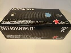 Nitrishield 4 mil Powder Free Blue Nitrile Gloves Small Size  Free Shipping $20.99