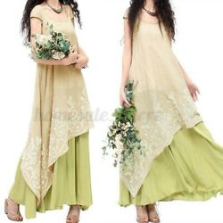 US STOCK Women Vintage Embroidered Short Sleeve Crew Neck Layers Maxi Long Dress $15.63