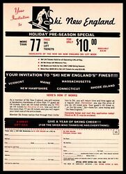 1968 Ski New England Wilmington Vermont Lift Tickets To Resorts Offer Print Ad $9.95