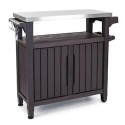 Keter Unity XL Resin Serving Station All Weather Plastic and Metal Grill Stora $258.01