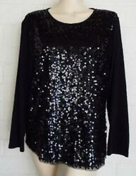 J. CREW XL black Sequin front knit pullover top Party Holidays