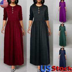 US Women#x27;s Casual Long Sleeve Maxi Dress Ladies Solid Color Loose A Line Dress $20.77
