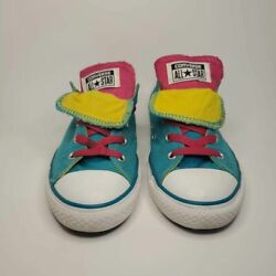 Converse All Star Girls Low Top Sneakers 645147F Blue Neon Pink Lace Up Shoes 4 $21.00