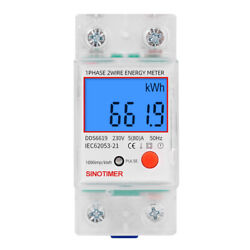 Din Rail Single Phase LCD Digital Power Consumption Energy Electric Meter $17.99