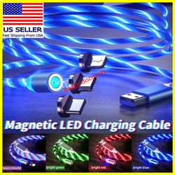 Magnetic LED Light Up USB Phone light up Charger Cord For iPhone Type C Micro US $4.79