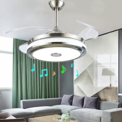 42#x27;#x27;Music Player Invisible Bluetooth Ceiling Fan Light LED Chandelier w Remote $129.99
