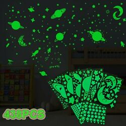 438Pcs Glow In The Dark Luminous Stars Moon Planet Space Kid Wall Stickers Decal $11.39