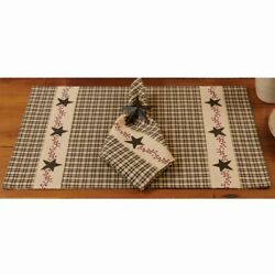 Rustic Country PRIMITIVE BERRIES Placemat Black Plaid $6.95