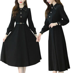 Womens Plain Long Sleeve Midi Dress Ladies Casual Baggy Holiday Party Dresses $20.51