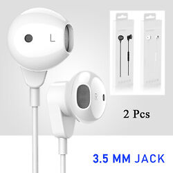 2Pcs Headset In Ear For Iphone w RemoteMic Wired Earphones Earbuds 3.5mm Earset $12.99