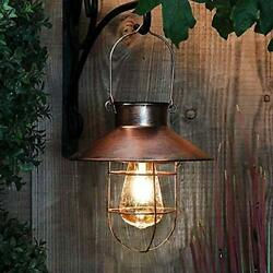 Solar Lantern Outdoor Hanging Light Rustic Solar Lamp with Warm White Copper $43.05