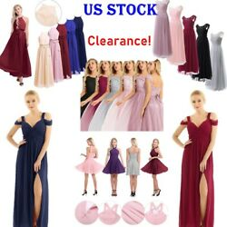 US Sexy Women#x27;s Long Chiffon Lace Evening Party Ball Gown Prom Bridesmaid Dress