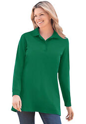 Woman Within Women#x27;s Plus Size Long Sleeve Polo Shirt $20.27
