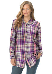 Woman Within Women#x27;s Plus Size Classic Flannel Shirt $26.49