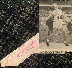 Signed 4 Time Olympic Champion Al Oerter USA Discus Champion Autograph Gold GBP 9.99