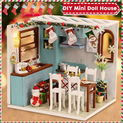 US DIY Mini Doll House Miniature with Furniture Wooden Dollhouse Christmas Toys $19.94