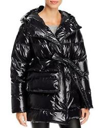 BACON Womens Laque Wrap Down Coat Small With Belt Bag In Black $174.99