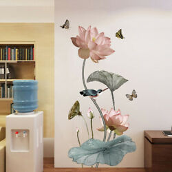 Lotus Wall Stickers Large Decorative Stickers Living Room Home Decor P1 $7.27