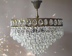 Flush low Ceiling Vintage Crystal Chandelier Antique Ceiling Lighting Big lamp GBP 925.00
