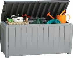 Keter 90 GAL Resin Novel Deck Box Organization And Storage For Patio Furniture $119.99