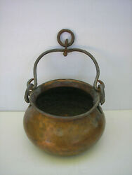 Vintage Copper Bucket with Cast Iron Hanlde and Rings $21.99