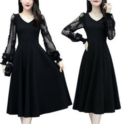 Plus Size Women Casual Slimming Lace Long Sleeve Ball Gown Party Formal Dresses $19.85