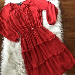 Anthropologie Sunday In Brooklyn Red Ruffle Boho Dress Size Small Womens $29.99