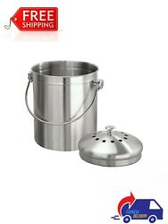 Double Filtration Kitchen Compost Bin Brushed Stainless Steel $45.99