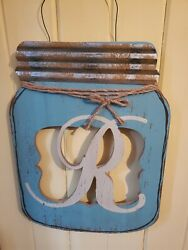Rustic Country Mason Jar Alphabet Letter quot;Rquot; Hanging Wall Art Decor $16.80
